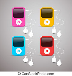 Colorful Vector Mp3 Players Set Illustration with White Headphones