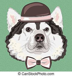 vector funny cartoon hipster Alaskan Malamute dog - hipster...
