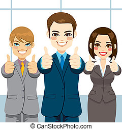 Thumbs Up Business People - Three business people making...