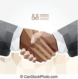 Geometric Modern handshake Design  / can be used for infographics / numbered banners  / graphic or website layout vector