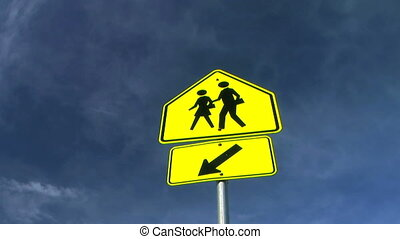 School Crossing Sign Time Lapse - School crossing sign with...