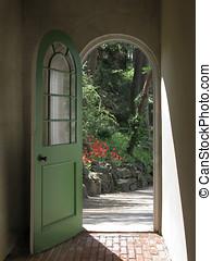 Arched Doorway to Tulip Walkway