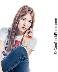Girl with cigarette colorized image