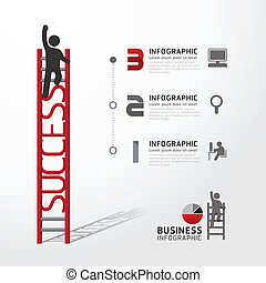 Business Infographic climbing ladder conceptvector...