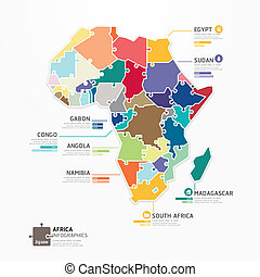 Africa Infographic Map Template jigsaw concept banner....