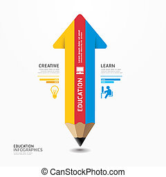 Arrow Pencil Infographic Design Minimal style template can...