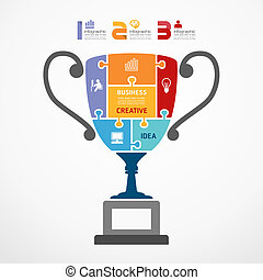 infographic Template with trophy jigsaw banner . concept vector illustration
