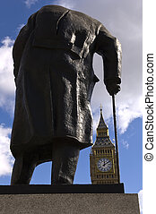 Churchill - Winston Churchill statue looking at the Tower...