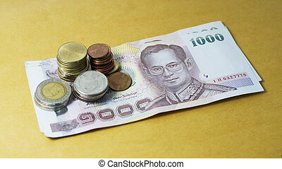 Thai baht currency and money bank note