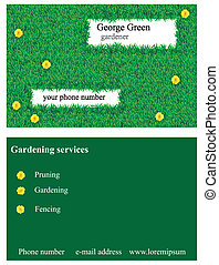 Grass business card - Vector illustration of business card...
