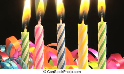 Birthday candles, time lapse - Candles on a Birthday cake...