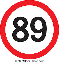 number 89 in a red circle speed limit