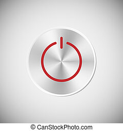Steel power button Vector