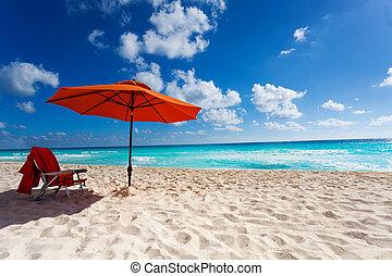 Orange beach umbrella - Beautiful orange umbrella and chair...