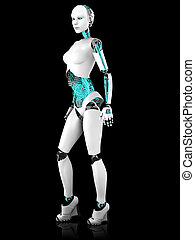 Sexy robot woman posing. - A sexy female robot in a standing...