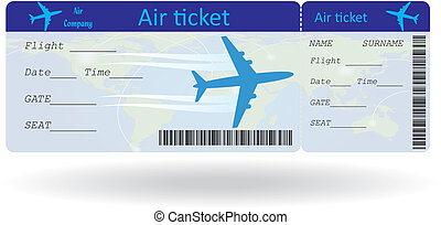 Variant of air ticket isolated on white Vector illustration