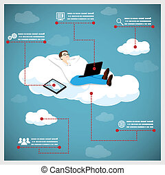 Happy Business Man on a Cloud Infographic Icons Tablet Computer Vector Illustration