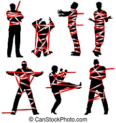 Red tape - Set of editable vector silhouettes of people...