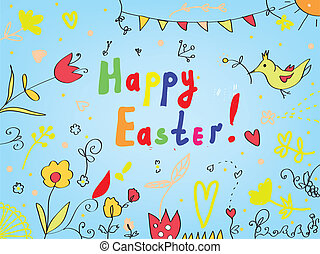 Easter card with flowers, birds, decorations greeting background