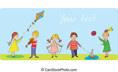Kids playing - funny banner with cute design