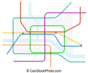 Underground map - Editable vector illustration of a generic...