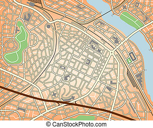 City center - Editable vector map of a generic city with no...