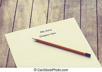 stylo, papier, écrivain, P