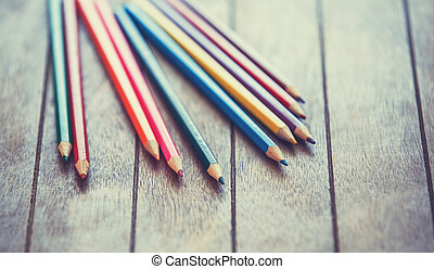 Color pencils. Photo in vintage color image style.