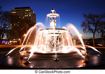 Fountain in Quebec City - Quebec City night scene in...