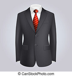 Male Clothing Dark Striped Suit with Red Tie. Vector...