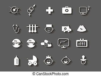 set of healthcare medical woman pregnancy icons - set of...