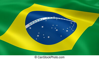 Brazilian Flag - Brazilian flag waving in the wind. Part of...