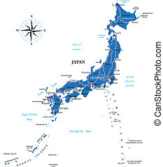 Japan map - Highly detailed vector map of Japan with...