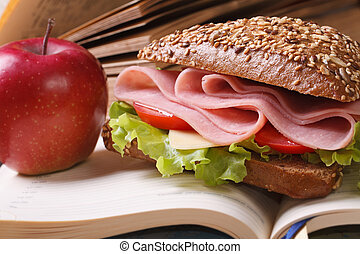 School lunch: a ham sandwich and an apple on open notebook...