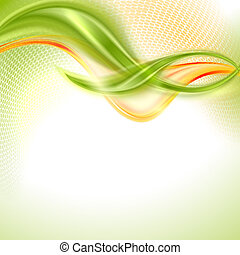 Abstract waving background - Abstract green and yellow...
