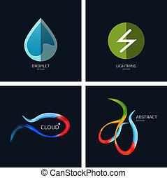 Business icons concept collection Water drop, lightning,...
