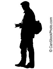 Journalist man - Man with a photo camera on white background