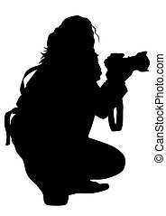 Photo girl - women with a photo camera on white background