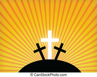 Silhouettes of crosses against a sunset sky. Easter background