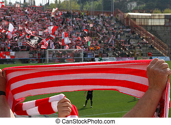 Red and white scarf of the fans in the Stadium 3 - Red and...