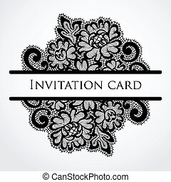 Vector lace card Vintage black ornament