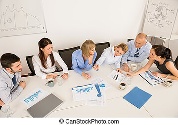 Business Team Discussing In Meeting - High angle view of...