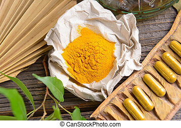 Herbal curcumin - Natural herbal tumeric capsules with fresh...