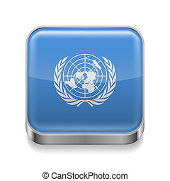 Metal icon of United Nations - Metal square icon with United...