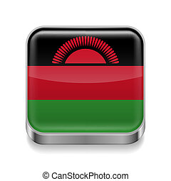 Metal icon of Malawi - Metal square icon with Malawian flag...