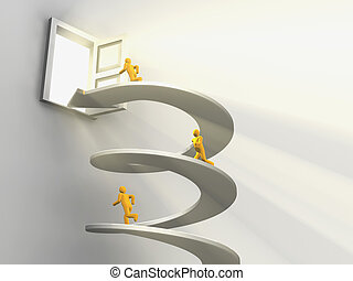 Men running on helix to open door - 3D render of men running...