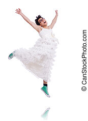 Funny dancing man wearing in woman dress isolated on white -...
