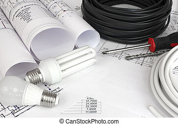 Electrical cable and bulbs on the drawings - Electrical...