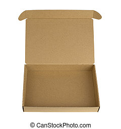 Open cardboard box with a lid Isolated on white background
