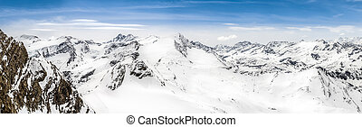 Panoramic view of Alps mountains with Grossglockner peak,...